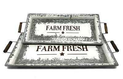 Farm Fresh Distressed Metal Tray Set of 2